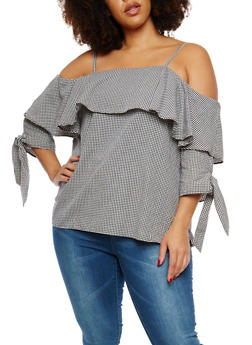 Plus Size Gingham Off the Shoulder Top - 1803058759840