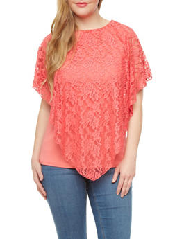 Plus Size Top With Lace Overlay And Cutout Back,BLUSH,medium