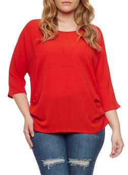 Plus Size Ruched Top with Dolman Sleeves - 1803058930104