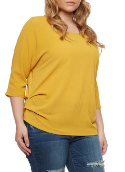 Plus Size Ruched Top with Dolman Sleeves - MUSTARD - 1803058930104