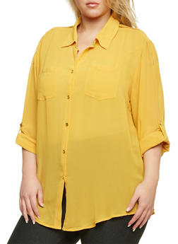 Plus Size Zippered Shoulder Chiffon Blouse - MUSTARD - 1803058930110