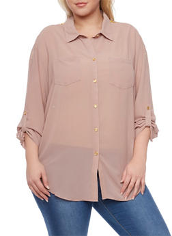 Plus Size Chiffon Blouse with Zippered Shoulders - 1803058930110