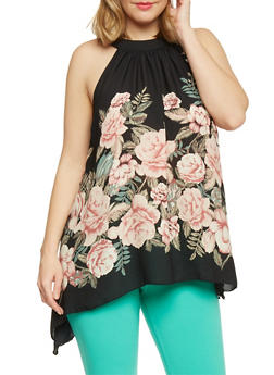 Plus Size Sleeveless Floral Halter Top - 1803058930111