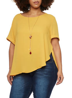 Plus Size Chiffon Short Sleeve Top with Necklace - MUSTARD - 1803058930112