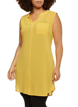 Plus Size Sleeveless Tunic Top with Zipper Accent - MUSTARD - 1803058930113