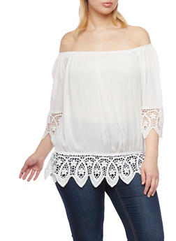 Plus Size Off the Shoulder Top with Crochet Trim - 1803058930115