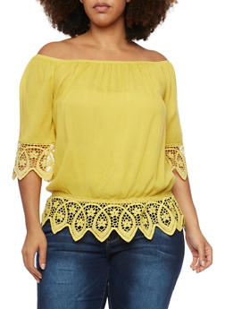 Plus Size Off the Shoulder Top with Crochet Trim - MUSTARD - 1803058930115