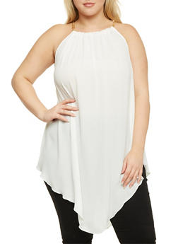 Plus Size Halter Chainlink Top with Asymmetrical Hem - 1803058930301