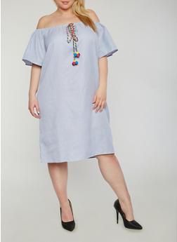 Plus Size Striped Off the Shoulder Dress with Pom Pom Tie - 1803058930536