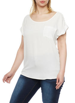 Plus Size Sliced Shoulder Short Sleeve Top - 1803058930620