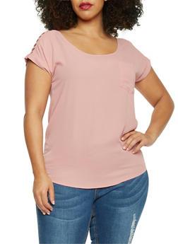 Plus Size Sliced Shoulder Short Sleeve Top - BLUSH - 1803058930620