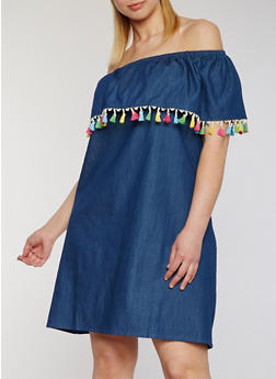 Plus Size Off the Shoulder Denim Dress with Pom Pom Trim - 1803058930636