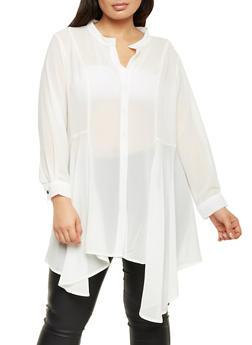 Plus Size Blouse with Draped Hem - IVORY - 1803058930703