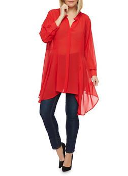 Plus Size Blouse with Draped Hem - 1803058930703