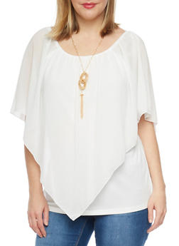 Plus Size Off the Shoulder Sheer Overlay Top with Necklace - 1803058930707