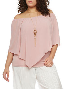Plus Size Off the Shoulder Sheer Overlay Top with Necklace - BLUSH - 1803058930707
