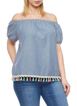 Plus Size Off the Shoulder Top with Tassle Hem - 1803058930736