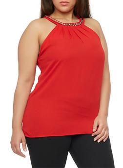 Plus Size Sleeveless Chain Collar Top - 1803058930743