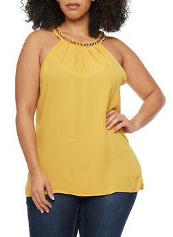 Plus Size Sleeveless Chain Collar Top - MUSTARD - 1803058930743