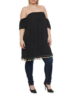 Plus Size Off the Shoulder Chiffon Tunic with Multicolored Tassel Trim - 1803058930836