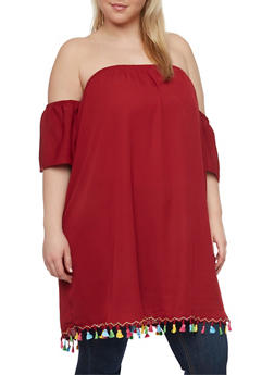 Plus Size Off the Shoulder Chiffon Tunic with Multicolored Tassel Trim - 1803058930836