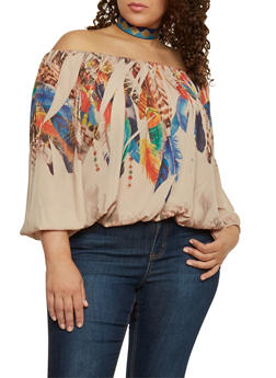 Plus Size Off the Shoulder Feather Printed Peasant Top - 1803058931018