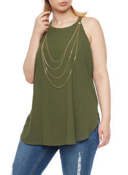 Plus Size Halter Tank Top with Draped Chain - LT OLIVE - 1803058931110