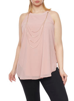Plus Size Halter Tank Top with Draped Chain - BLUSH - 1803058931110