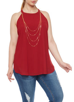 Plus Size Halter Tank Top with Draped Chain - 1803058931110