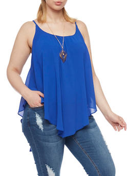 Plus Size Swing Tank Top with Geo Necklace - 1803058931111
