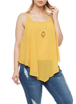 Plus Size Swing Tank Top with Geo Necklace - MUSTARD - 1803058931111