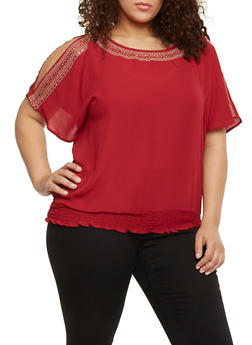 Plus Size Studded Crepe Top with Open Sleeves - BURGUNDY - 1803058932013