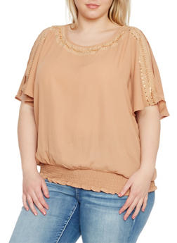 Plus Size Studded Crepe Top with Open Sleeves - 1803058932013