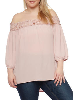 Plus Size Off the Shoulder Crochet Trimmed Top - 1803058932023