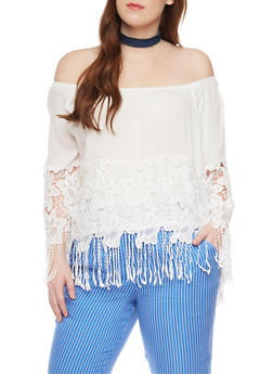 Plus Size Off Shoulder Floral Crochet Top with Fringe - WHITE - 1803058932033