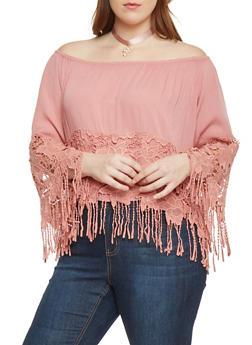 Plus Size Off Shoulder Floral Crochet Top with Fringe - BLUSH - 1803058932033