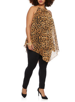 Plus Size Animal Print Tank Top with Chain Neck - 1803058933010