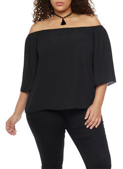 Plus Size Off the Shoulder Top with Tassel Choker - 1803058933096