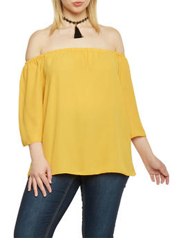Plus Size Off the Shoulder Top with Tassel Choker - MUSTARD - 1803058933096