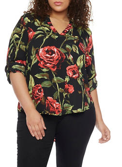 Plus Size Floral High Low Blouse - 1803058934080