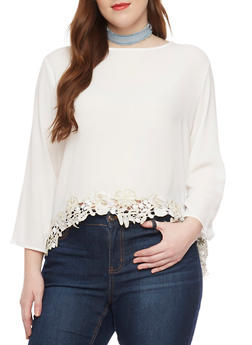 Plus Size Long Sleeve Split Back Crepe Knit Top with Crochet Trim - 1803058939388