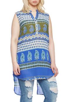 Plus Size Printed Tunic With Mandarin Collar,ROYAL,medium