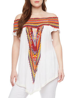 Plus Size Smocked Off Shoulder Dashiki Print Top - 1803061630255