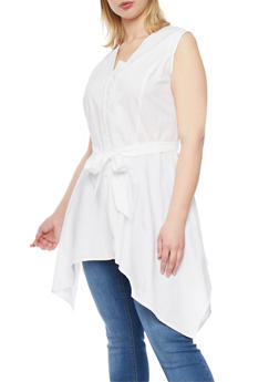 Plus Size Sleeveless Button Front with Sharkbite Hem and Sash - 1803061630265