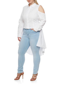Plus Size High Low Button Front Top with Tie Waist Detail - 1803061630266