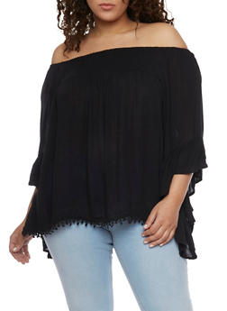 Plus Size Off the Shoulder Peasant Top with Asymmetrical Sleeves - 1803061630268