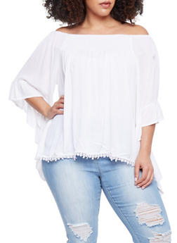 Plus Size Off the Shoulder Peasant Top with Asymmetrical Sleeves - IVORY OFF WHITE - 1803061630268
