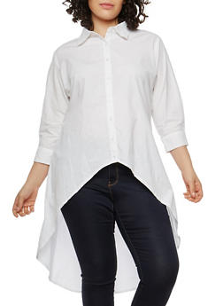 Plus Size High Low Button Front Shirt - 1803061630914