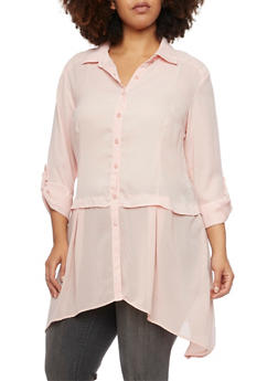 Plus Size Button Up Shirt with Asymmetrical Hem - 1803061634746