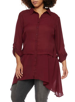 Plus Size Button Up Shirt with Asymmetrical Hem - BURGUNDY(MAROON) - 1803061634746
